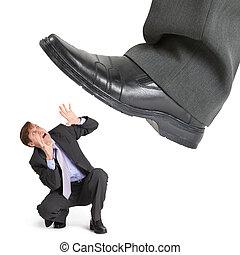 fot, stor, entreprenör, liten, krossa, kris
