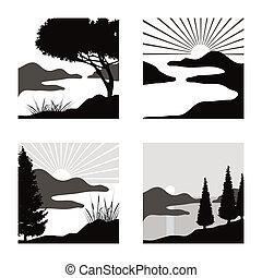 fot, stylizovaný, obyčej, pictograms, pobřežní, osvětlení, krajina