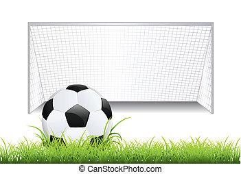 fotbal branka, s, koule