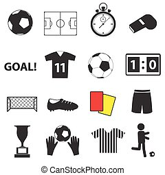 fotbal football, jednoduchý, čerň, ikona, dát, eps10