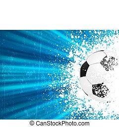fotboll, affisch, blåa lätta, burst., eps, 8