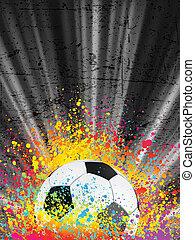 fotboll, affisch, lätt, burst., eps, 8