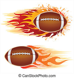 fotboll, amerika, flammor