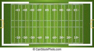 fotboll, amerikan, gräs, strukturerad, fält