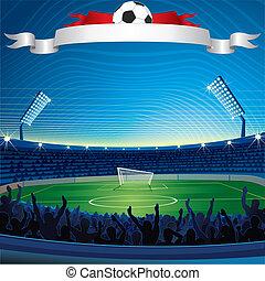 fotboll, bakgrund, stadion