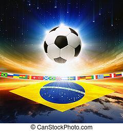 fotboll bal, med, brasilien flagg
