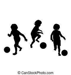 fotboll, barn spela