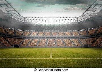 fotboll försäljningsargument, in, stort, stadion