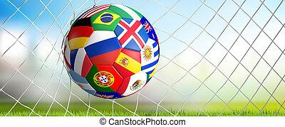 fotboll fotboll, boll, fotboll, skott, på, mål, 3, illustration