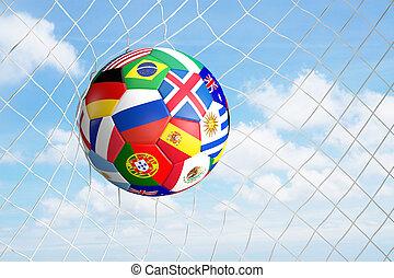 fotboll fotboll, boll, hos, blå, skyn, sky, bakgrund, 3, illustration