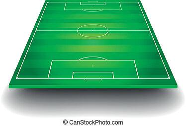 fotboll gärde, med, perspektiv