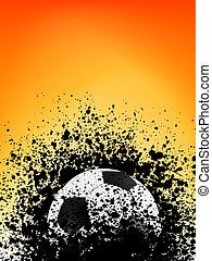 fotboll, grunge, affisch, apelsin, light., eps, 8