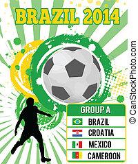 fotboll, grunge, affisch