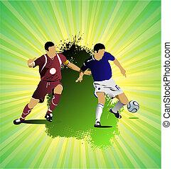 fotboll, grunge, färgad, banner., illustration, vektor, ...