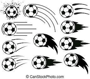 fotboll, grunge, klumpa ihop sig, fotboll, vektor, flygning