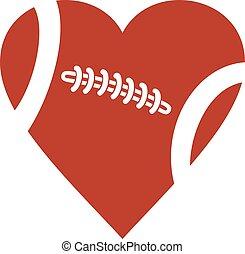 fotboll, hjärta, amerikan, boll