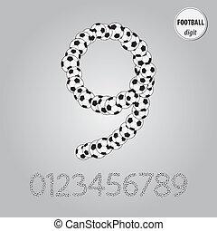 fotboll klumpa ihop sig, siffra, vektor