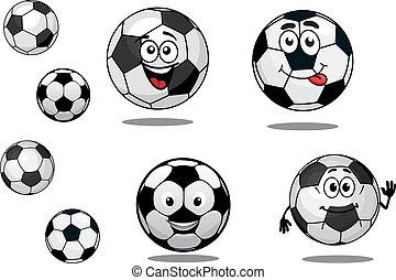 fotboll kula, tecknad film, fotboll, eller