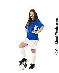 fotboll, kvinna