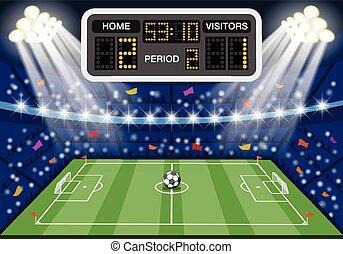 fotboll, poängtavla, stadion