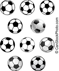 fotboll, sätta, fotboll, klumpa ihop sig
