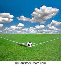 fotboll, (soccer), fält, hörna, med, vit, märken