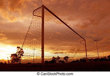 fotboll, solnedgång