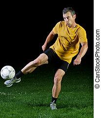 fotboll spelare, in, a, skott
