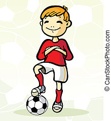 fotboll spelare, med, boll