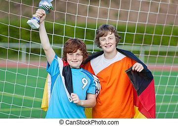 fotboll spelare, med, pris, och, tyska flagga