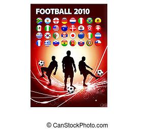 fotboll spelare, på, abstrakt, nymodig, lätt, bakgrund