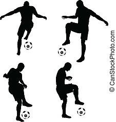 fotboll spelare, silhouettes, ställning, ge sig sken,...