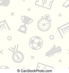 fotboll, sport, pattern., seamless, bakgrund