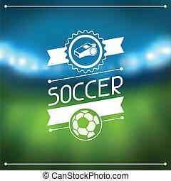 fotboll, stadion, labels., bakgrund, sports