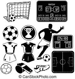 fotboll, svart, ikonen