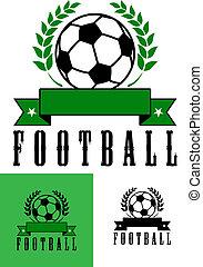 fotboll, symboler, sätta, eller, fotboll