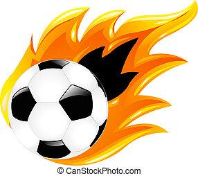 fotboll, två, klumpa ihop sig
