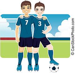 fotboll, vänner, lag