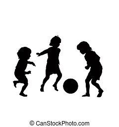 fotboll, vektor, barn