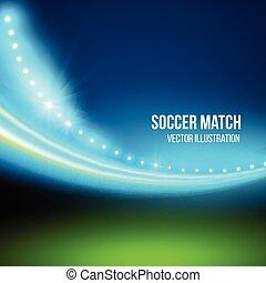 fotbollmatch, vektor, stadium., illustration