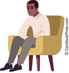 fotel, ilustracja, płaski, rgb, człowiek, kolor, pół, wektor