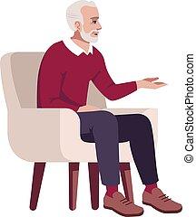 fotel, ilustracja, płaski, rgb, człowiek, kolor, starszy, ...