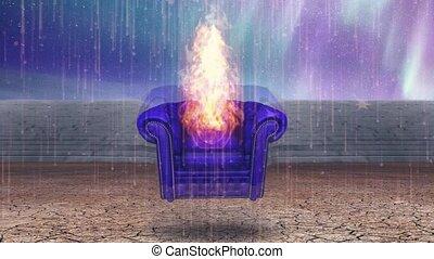 fotel, płonący, opróżniać
