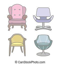 fotele, wektor, komplet, colorfull
