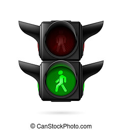 fotgängare, trafikljus