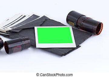 foto, achtergrond., scherm, vrijstaand, leeg, groene, beeld, nog