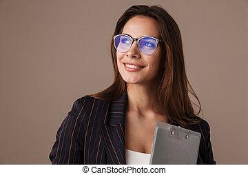 foto, affärskvinna, attraktiv, skrivplatta, framställ, le