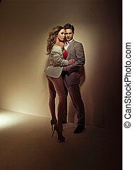 foto, amantes, sensualidad, lleno, dos