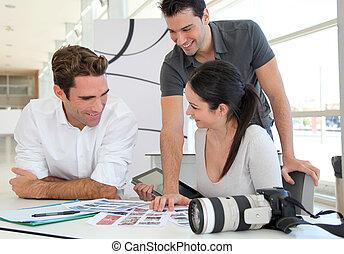 foto, arbeit, versammlung, agentur