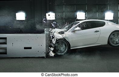 foto, arte, coche, chocado